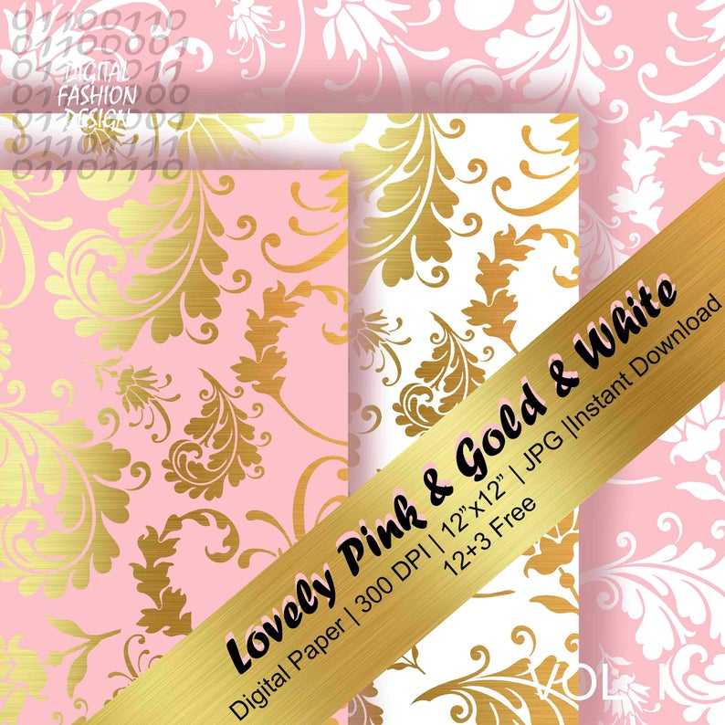 Soft Pink, White & Gold digital paper, light pink and gold, white and gold, gold wedding, scrapbook papers, pink and gold (Instant Download)