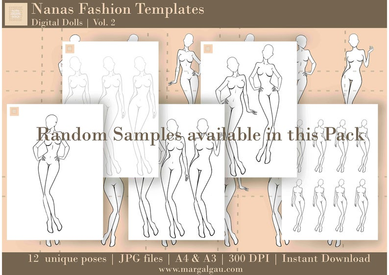 NANAS Fashion templates Vol.2, Fashion croquis SET inspired in Anime and Comics drawing style, Sketch for Fashion design, Anime girl body, and How to draw the body pose