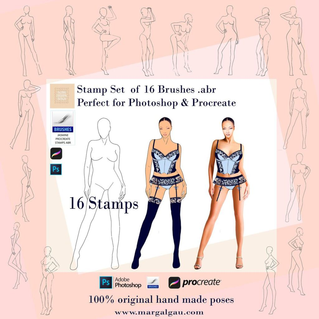 ABR Stamps for Procreate, Fashion figures, Body Stamps Brush Procreate, Stamps Brushes Procreate, Fashion Illustration Template Procreate Fashion Figure ABR