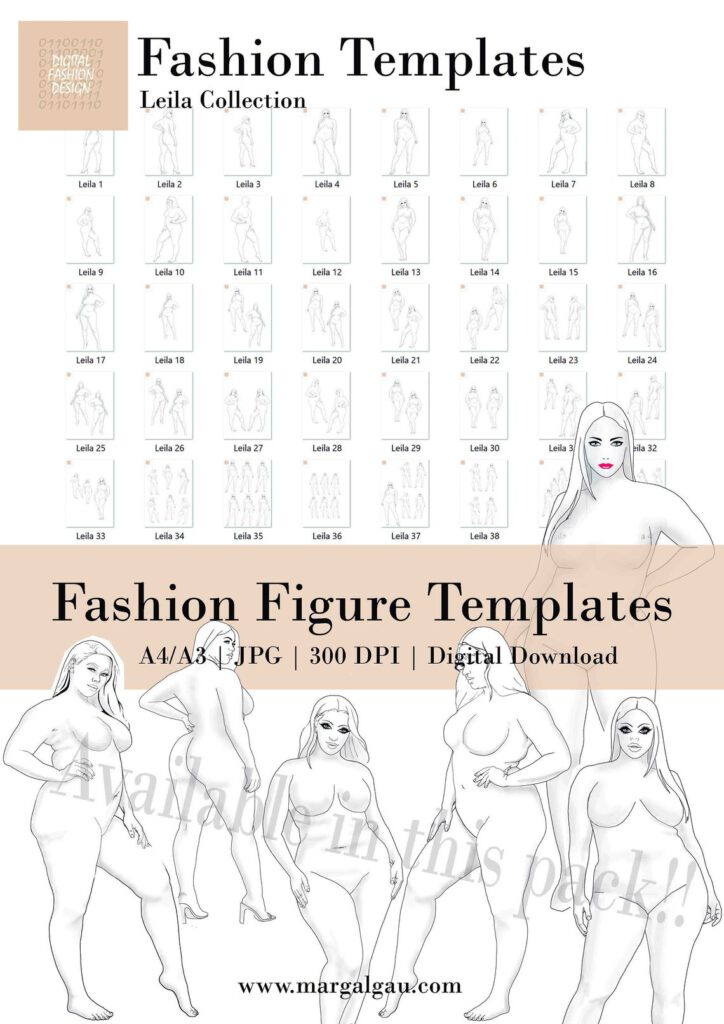 Curvy Girls, Curvy Female Figure Template, Procreate, Body Template, Fashion Figure, Drawing Template for Clothing, Sample Body JPG and PDF